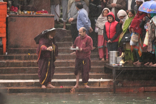Offerings to river ganga during ceremony