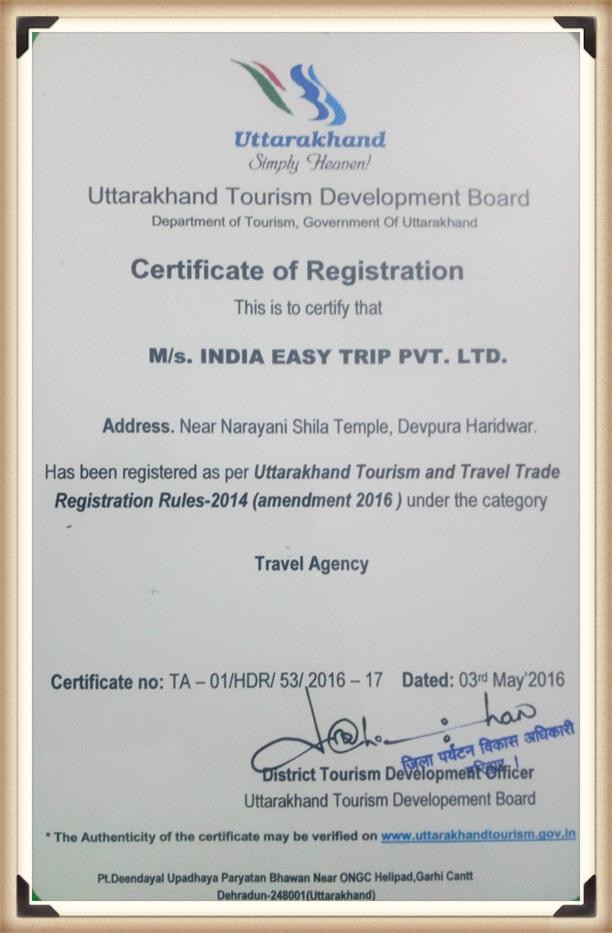 India Easy Trip Uttarakhand Tourism Approval